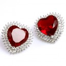 Rhodium Plated with Red Cubic Zirconia Heart Earrings