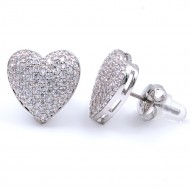Rhodium Plated With CZ Cubic Zirconia Heart Earrings