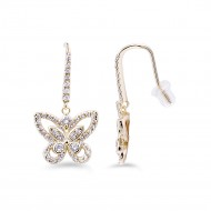 Butterfly Gold Plated With CZ  Earrings