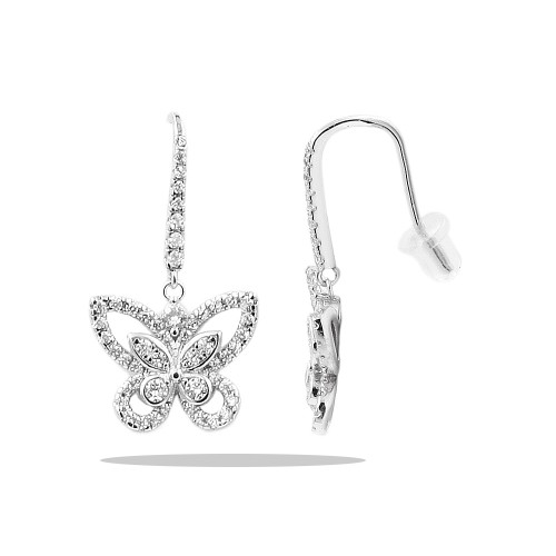 Butterfly Rhodium Plated With CZ Earrings