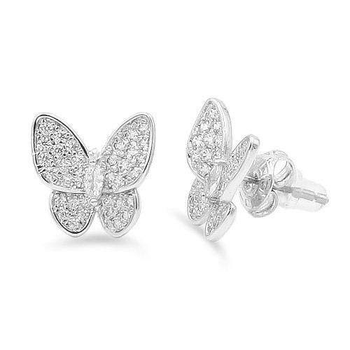 Shinny Butterfly Rhodium Plated With CZ Earrings