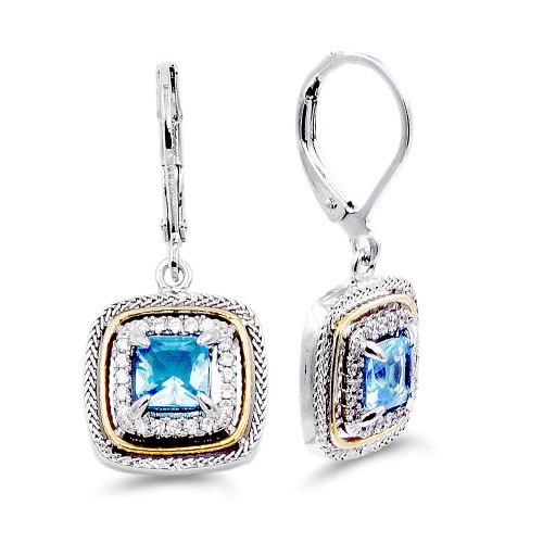 Rhodium Plated with Aqua Blue CZ Stone Earring