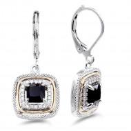 Rhodium Plated with Black CZ Stone Earring