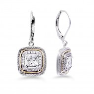 Rhodium Plated with Clear CZ Stone Earring