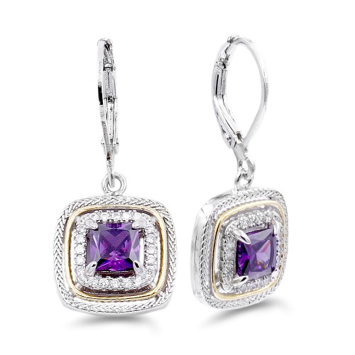 Rhodium Plated with Purple CZ Stone Earring