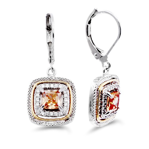 Rhodium Plated with Topaz CZ Stone Earring
