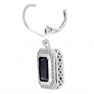Rhodium Plated with Black CZ Stone Earrings