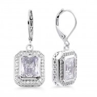 Rhodium Plated with Clear CZ Stone Earrings