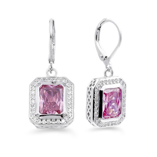 Rhodium Plated with Pink CZ Stone Earrings