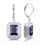 Rhodium Plated with Purple CZ Stone Earrings