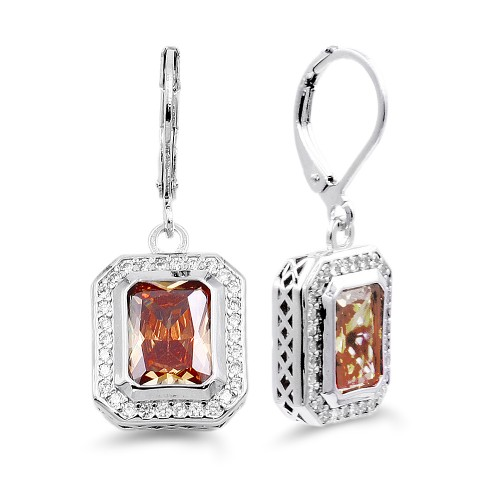 Rhodium Plated with Topaz CZ Stone Earrings