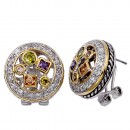 2-Tones Plated with Clear Cubic Zirconia Earrings