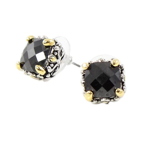 2-Tones with Black Cubic Zirconia Earrings