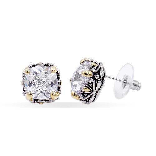 2-Tones with Clear Cubic Zirconia Earrings