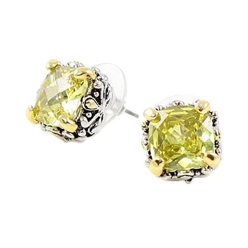 2-Tones with Light Green Cubic Zirconia Earrings