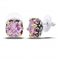 2-Tones with Pink Cubic Zirconia Earrings