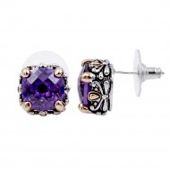 2-Tones with Purple Cubic Zirconia Earrings