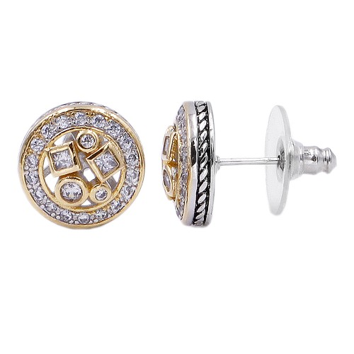 Two-tone Plated with Cubic Zirconia Classic Stud Earrings