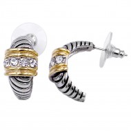 Two-tone Pated with Clear CZ Cubic Zirconia Earrings