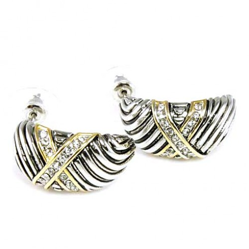 Two-tonePlated with Cubic Zirconia Earrings