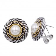 2-Tones with Pearl Classic Earrings