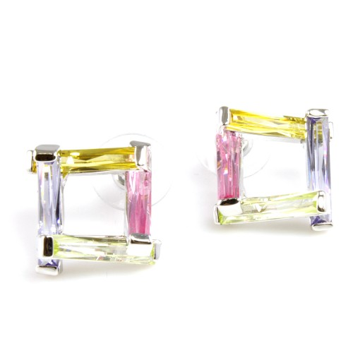 Rhodium Plated with Light Multi-Color Cubic Zirconia Earrings
