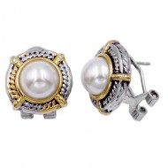 Two Tone Plated With Pearl Earrings
