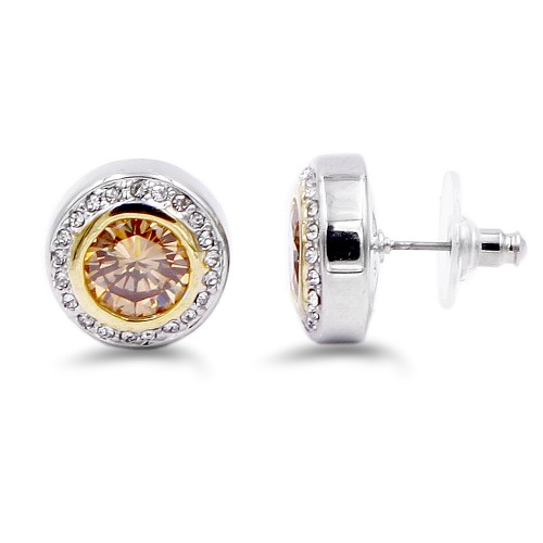 2-Tones Plated with Topaz Cubic Zirconia Earrings