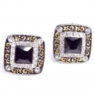 Rhodium Plated with Black Cubic Zirconia Earrings