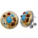 2-Tones Plated with Multi-Color Cubic Zirconia Earrings