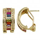 Gold Plated with Multi-Color Cubic Zirconia Earrings