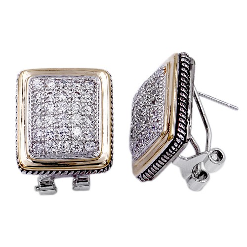 2-Tones Plated with Cubic Zirconia Earrings