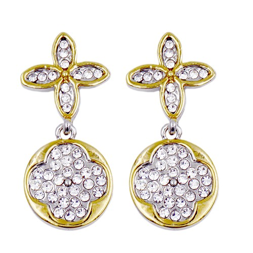 Two-tone Plated with Round Cubic Zirconia Earrings