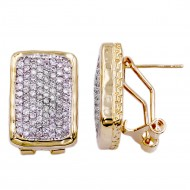 2-Tones Plated with CZ Cubic Zirconia Earrings