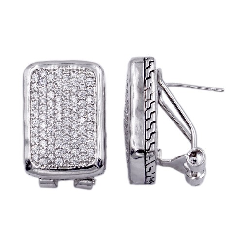 Rhodium Plated with Cubic Zircornia Earrings