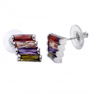 Rhodium Plated with Multi-Color Cubic Zirconia Earrings