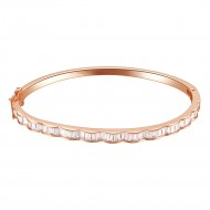 Rose Gold Plated with AAA Clear Cubic Zirconia Luxury Bangle Bracelet Evening Party Jewelry 7""