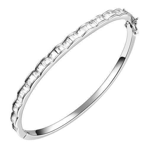 """Rhodium Plated with AAA Cubic Zirconia Luxury Bangle Bracelet Evening Party Jewelry 7"""""""