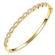 Gold Plated Cubic Zirconia Elegant Bangle Open Design 7""