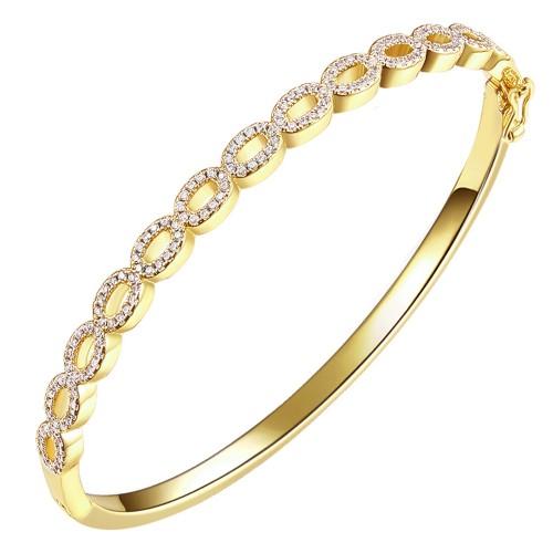 "Gold Plated Cubic Zirconia Elegant Bangle Open Design 7"""