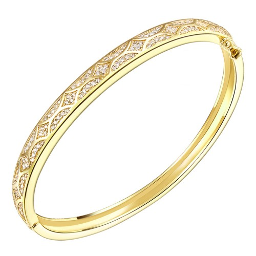 Gold Plated with Cubic Zirconia Arts Design Bangle 7""