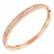 Rose Gold Plated Cubic Zirconia Arts Design Bangle 7""