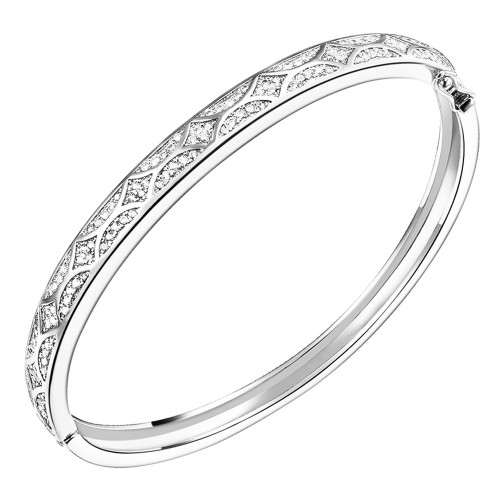 Rhodium Plated with Cubic Zirconia Arts Design Bangle 7""
