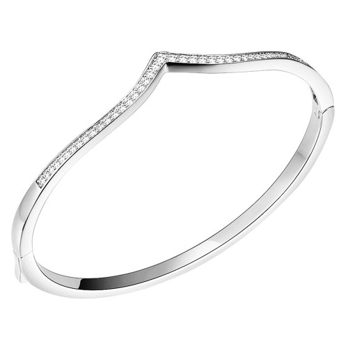 Rhodium Plated V Shape Hinged Bangle with Single Row Cubic Zirconia 7""
