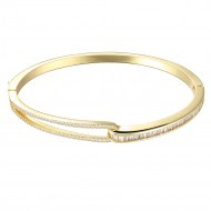 "Gold Plated with Hinged Bangle Bracelet AAA Cubic Zirconia 7"" for Women"