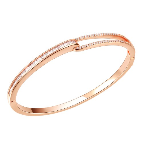 """Rose Gold Plated with Hinged Bangle Bracelet AAA Cubic Zirconia 7"""" for Women"""