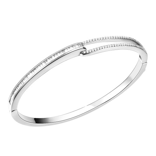 "Rhodium Plated with Hinged Bangle Bracelet AAA Cubic Zirconia 7"" for Women"