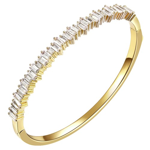 """Gold Plated Cubic Zirconia Hinged 4mm Single Row Bangle 7"""""""