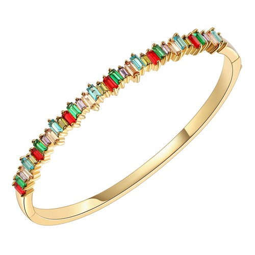 Gold Plated With Multi Color CZ 4mm Cubic Zirconia Hinged Bangle Bracelet Single Row Prong 7""