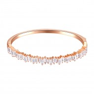 Rose Gold Plated with 4mm Cubic Zirconia Hinged Bangle Bracelet Single Row Prong 7""